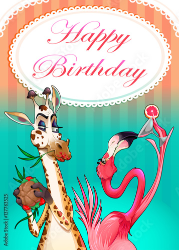 Poster Chambre d enfant Happy Birthday card with funny animals