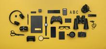 Social Media Concept Header Image On Yellow