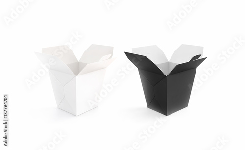 Opened black and white blank wok box mockup set, stand isolated, 3d ...