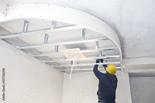 Fotografie, Tablou  Installation of suspended ceilings. Finishing works