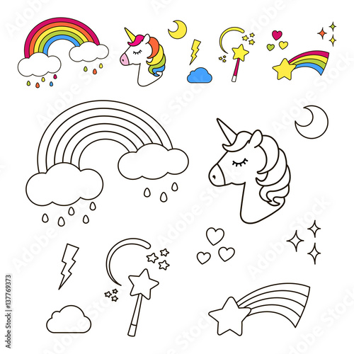 Stickers Set With Unicorn Rainbow Star Cloud Magic Wand For