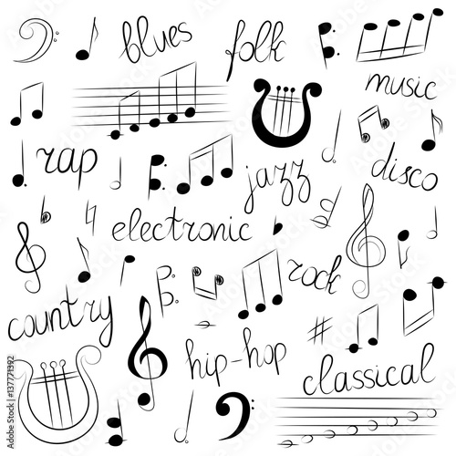 Hand Drawn Set Of Music Symbols And Styles Doodle Treble Clef Bass
