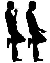 Silhouettes Of Men Smoking Isolated On White
