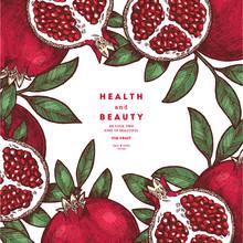 Pomegranate Fruit Vintage Desi...