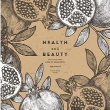 Pomegranate Fruit Vintage Design Template. Botanical Fruit. Engraved Pomegranate Illustration. Vector Illustration