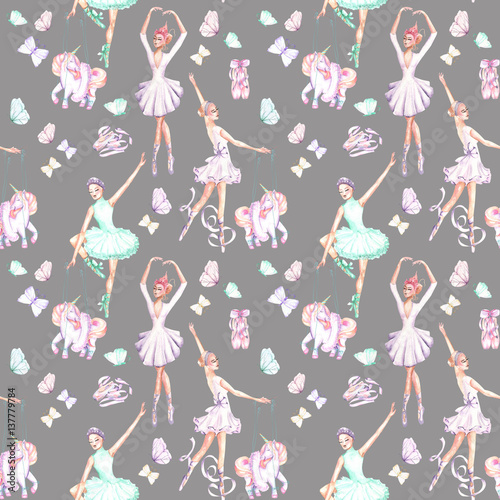 Cotton fabric Seamless pattern with watercolor ballet dancers, puppet unicorns, butterflies and pointe shoes, hand drawn isolated on a grey background