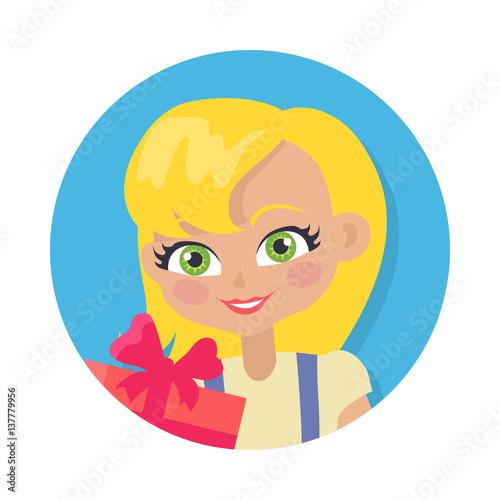 Fotografie, Obraz  Girl with Fair Hair and Giftbox. Cartoon Style