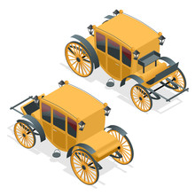 Isometric Retro Coaches, Brougham Icon. Flat Illustration Of Brougham Vector. Isolated On White