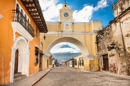 Colonial houses in tha street view of Antigua, Guatemala. Canvas Print
