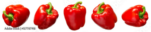 Poster Hot chili peppers Sweet red pepper isolated on white background
