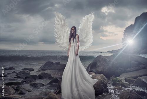 Printed kitchen splashbacks Artist KB Portrait of the shining angel on the sharp rock