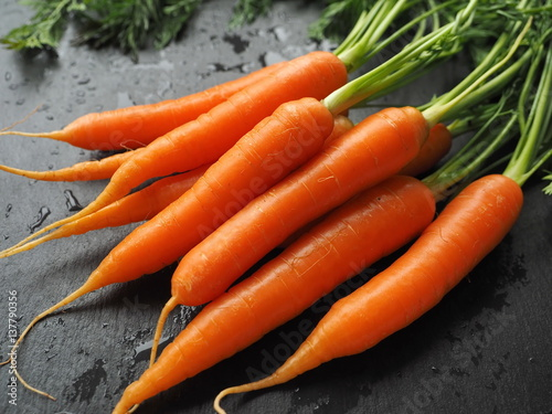 Fresh carrot bunch on dark background