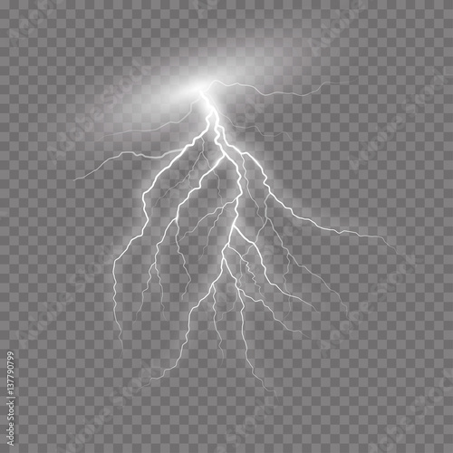 Realistic vector lightning  on checkered background Poster