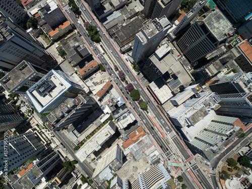 Fotografie, Obraz  Top View of Consolacao Avenue, Sao Paulo, Brazil