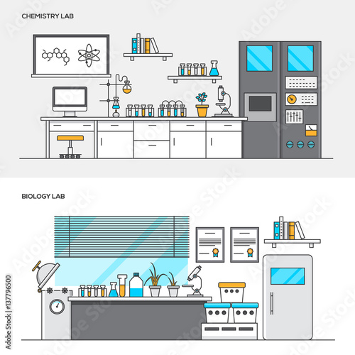 Fototapety, obrazy: Flat line color concept- Chemistry and Biology lab