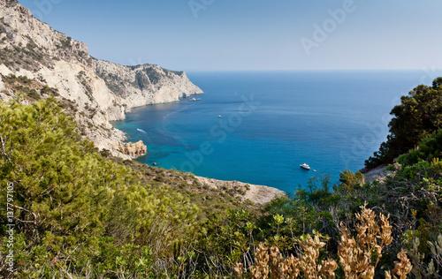 View of Atlantis bay at Ibiza  Yacht near ibiza coast
