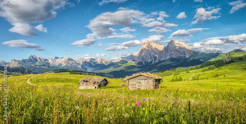 Fototapety, obrazy: Alpe di Siusi in the Dolomites at sunset, South Tyrol, Italy