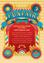 Funfair Vector Template. Circus Tent. Retro Poster Invite Kids. Birthday Party Invitation. Amusement Park, Ferris Wheel, Carousel. Carnival, Festival, Cabaret. Funfair Background, Vintage Ribbon.