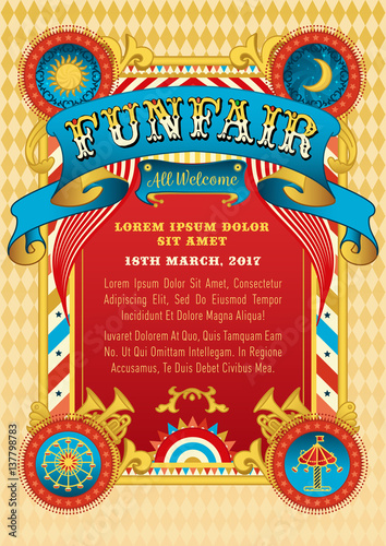 funfair vector template  circus tent  retro poster invite