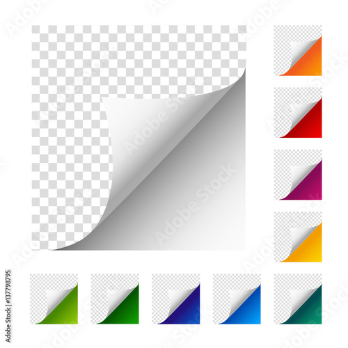 Collection of vector paper corners Wallpaper Mural