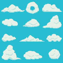 Set Of 12 Pixel Clouds