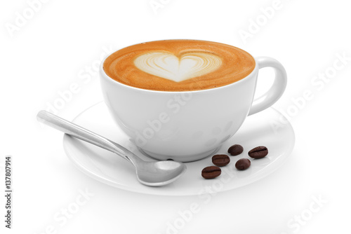 Fototapeta Cup of coffee latte and coffee beans isolated on white background obraz