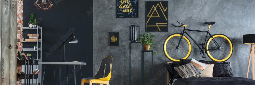 Leinwandbild Motiv - Photographee.eu : Grey and yellow studio