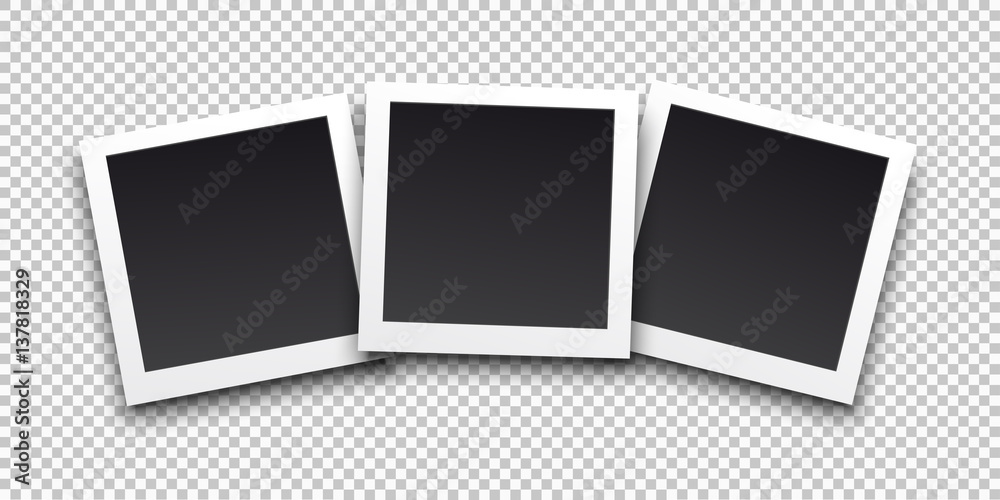 Fototapety, obrazy: Square frame template with shadows. Vector illustration EPS 10. Isolated on transparent background