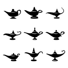 Aladdin Lamp Vector. Set Icons Aladdins Lamp Signs. Illustration Of Wish And Mystery Souvenir