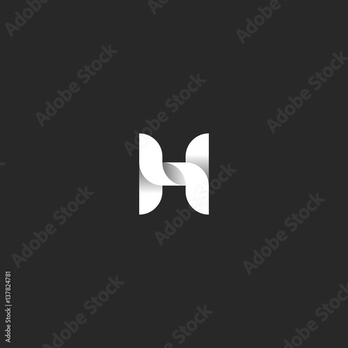 Letter H logo idea, monogram of the weave of smooth lines in the