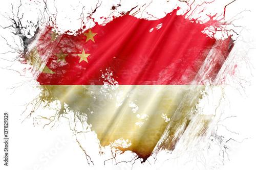 Photo  Grunge old Singapore  flag