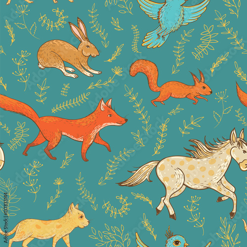 Cotton fabric Vector seamless pattern with cute animals and plants