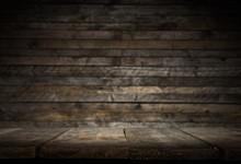 Vintage Wood Table In Wood Wal...