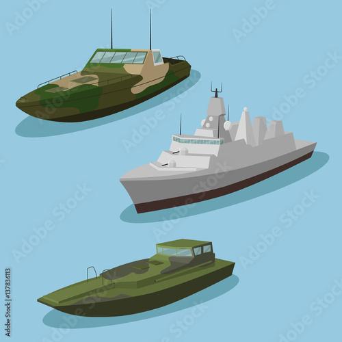 Fotomural Military ships vector image design set