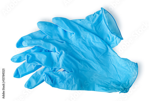 Pair blue medical gloves Canvas-taulu