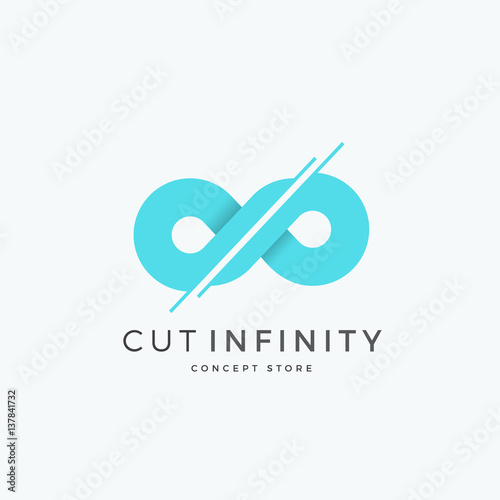 cut infinity abstract vector sign emblem or logo template divided