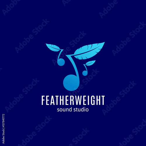 Fotografie, Obraz  Featherweight Sound Studio Abstract Vector Sign, Emblem or Logo Template