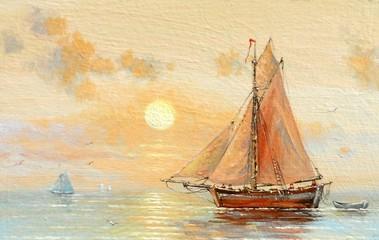 FototapetaSea, boats, fisherman, oil paintings