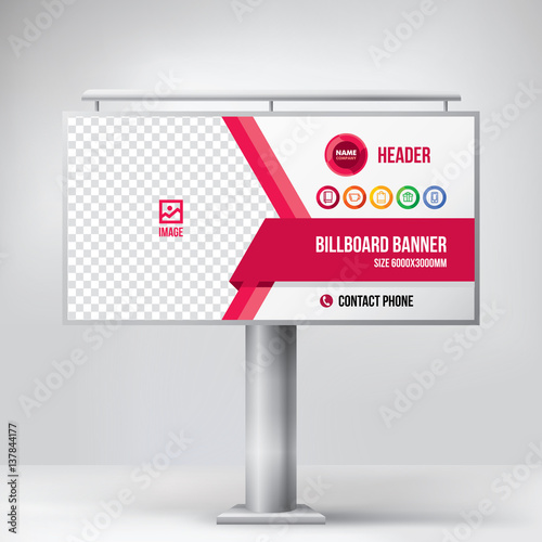 Valokuva  Billboard design, multipurpose banner template for posting photos and text, gr