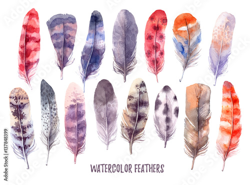 Foto auf AluDibond Boho-Stil Hand drawn illustration - Watercolor feathers collection. Aquarelle boho set. Isolated on white background. Perfect for invitations, greeting cards, posters, prints