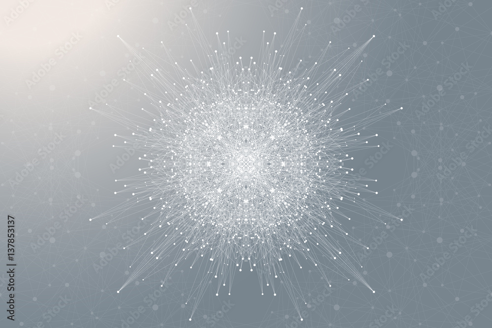 Fototapety, obrazy: Fractal element with connected lines and dots. Big data complex. Virtual background communication or particle compounds. Digital data visualization, minimal array. Lines plexus. Vector illustration.