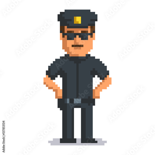 Foto op Aluminium Pixel Officer isolated on white background. Sheriff pixel game style illustration. Cop vector pixel art design. funny 8 bit police guy character icon.