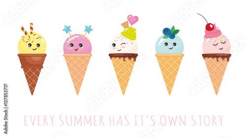 Fotografía  Kawaii ice cream cone characters