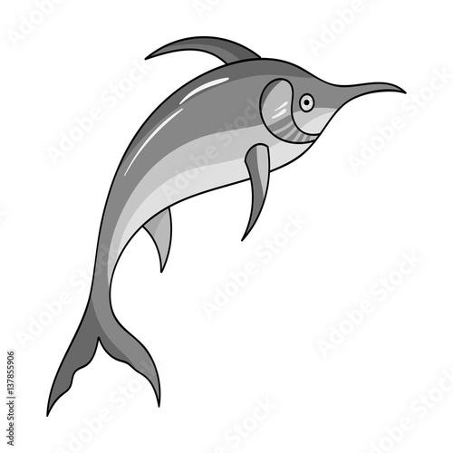 Foto op Plexiglas Dolfijnen Marlin fish icon in monochrome style isolated on white background. Sea animals symbol stock vector illustration.