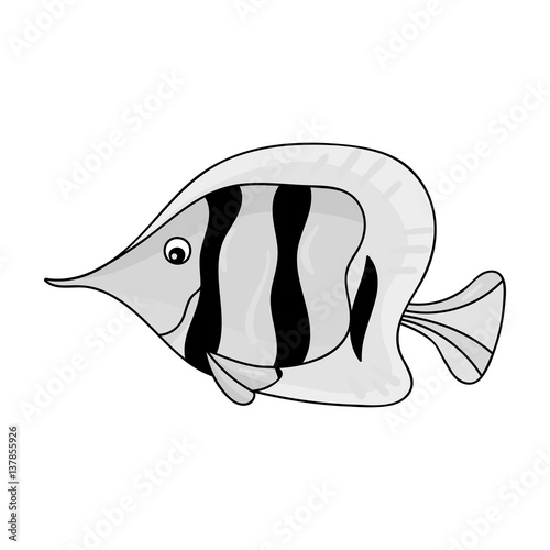 Angel fish icon in monochrome style isolated on white background Poster