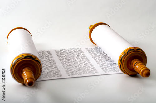 Fotografie, Obraz  Judaism and religious text concept with a Torah on white background