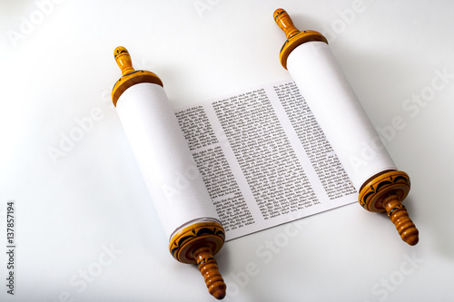 Judaism and religious text concept with a Torah on white background