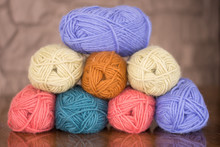 Stack Of Eight Skeins Of Laven...