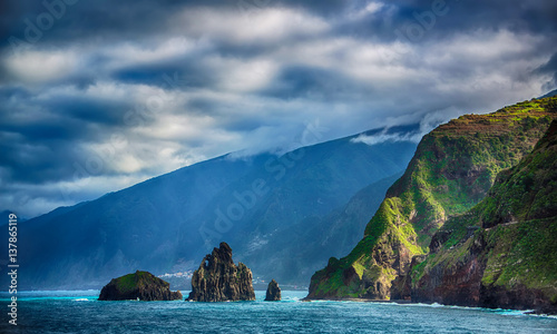 Fotografie, Obraz  Black rocks in the ocean and coastline of Madeira island