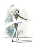 Watercolor Ballerina Hand Painted Ballet Dancer Illustration - 137865584